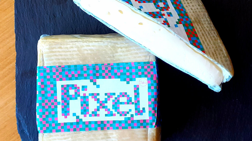 soft blue swiss pixel cheese jumi cheese square soft cheese cows milk pixellated text