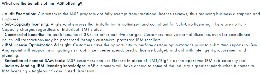 IBM Authorized SAM Provider program supposed benefits: Audit exemption, commercial benefits, reduction of needed SAM tools, and more