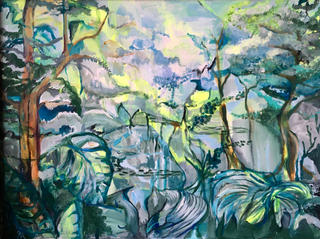 "Enchanted forest. 49x38"" framed .acrylic on canvas"