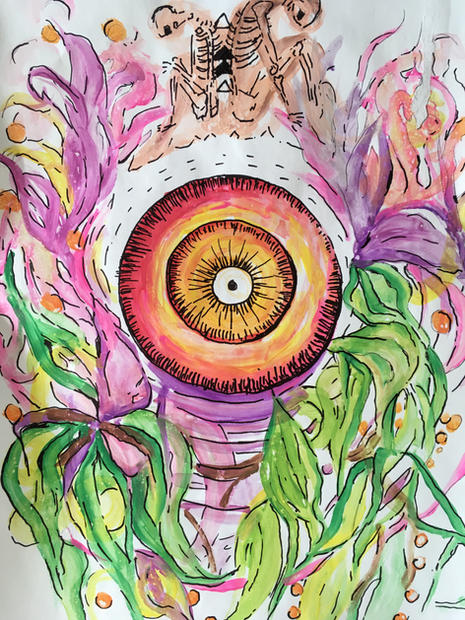 "Red eye. ojo rojo. watercolor on paper.21X17"""