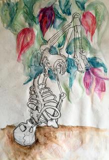 """reincarnation#3 color pencil,watercolour on paper. 17""""x21"""""""