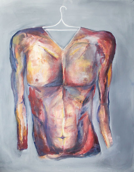 """hanging onto gender; masculin , acrylic on canvas, 30""""x42"""""""