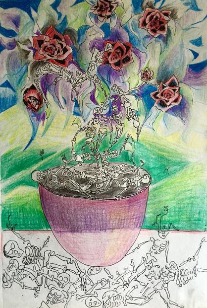 """reincarnation #4 color pencil watercolor on paper. 17"""" x 21"""""""