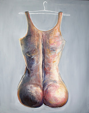 "hanging onto gender; feminin. acrylic on canvas, 32""x40"""