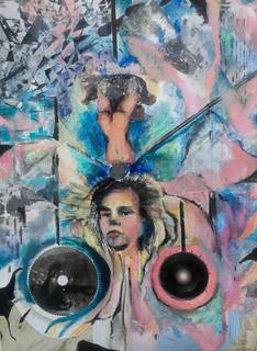 "Perperuna 24"" x18""acrylic , collage on canvas"