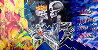 """skeleton love.acrylic on canvas. 2 pieces cut in the middle 37""""x25"""""""