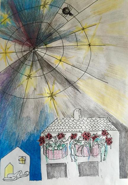 """reincarnation#2. colour pencils on paper.17""""X21"""""""
