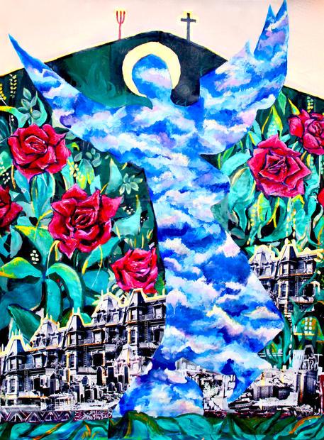 "Guardian Angel. acrylic on canvas.46""x 36"""