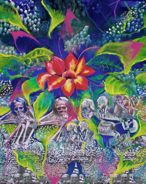 "Rebirth. acrylic on canvas. 25"" x 37 """