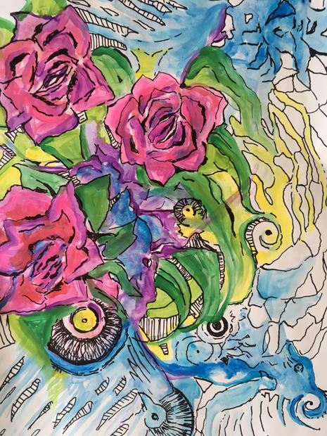 """Rose water.watercolour on paper. 21""""x17"""""""