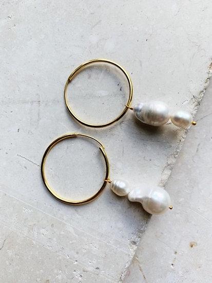 Double Drop Baroque Pearl Hoop