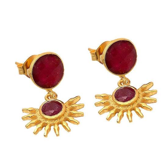 Ruby Red Sun Earrings