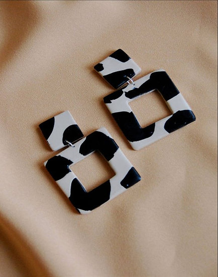 Dalmation Patch Square Earrings