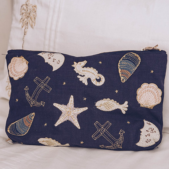 Seashell Indigo Travel Pouch