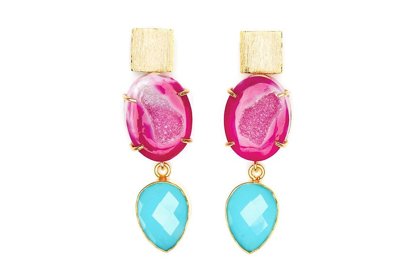 Pink Agate and Blue Chalcedony Cocktail Earrings