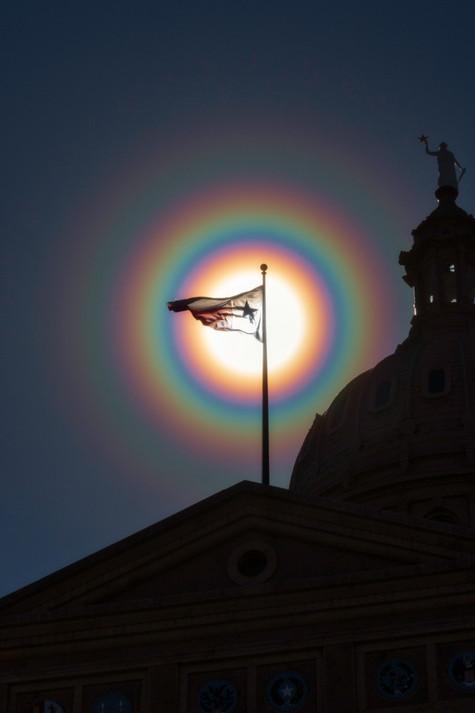 Texas Flag in a Pollen Corona Rainbow