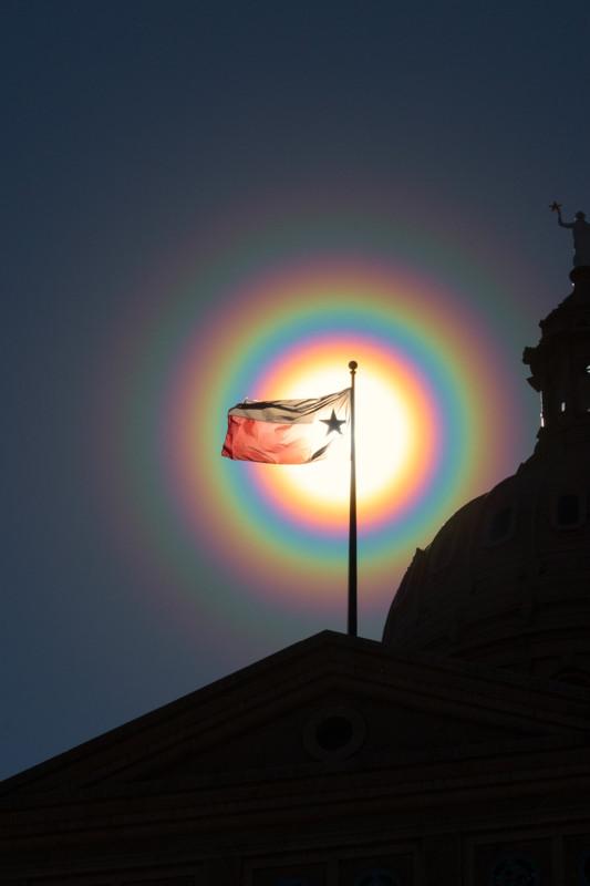 Texas Flag in a Pollen Corona