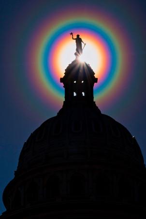 Capitol Dome in a Pollen Corona Rainbow