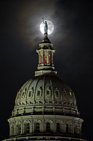 Goddess of Liberty and the Supermoon