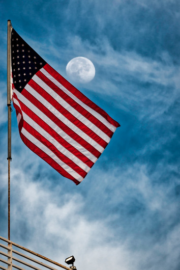 American Flag and the Full Moon