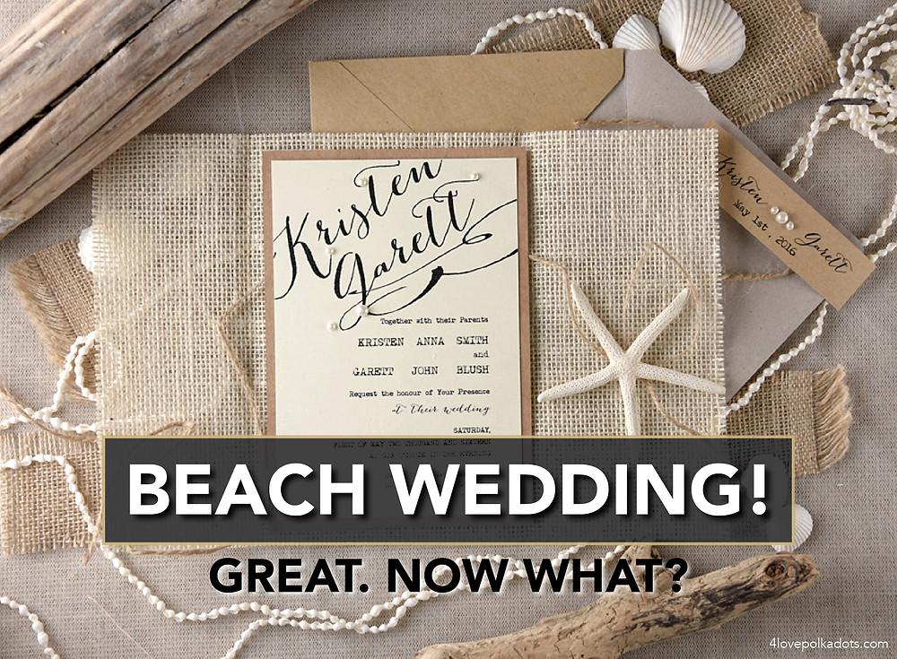 beach wedding invitation seashells burlap pearls driftwood 4lovepolkadots