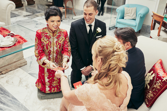 Kitty & Adam. Traditional Chinese wedding tea ceremony. Bellevue Syrene Hotel.