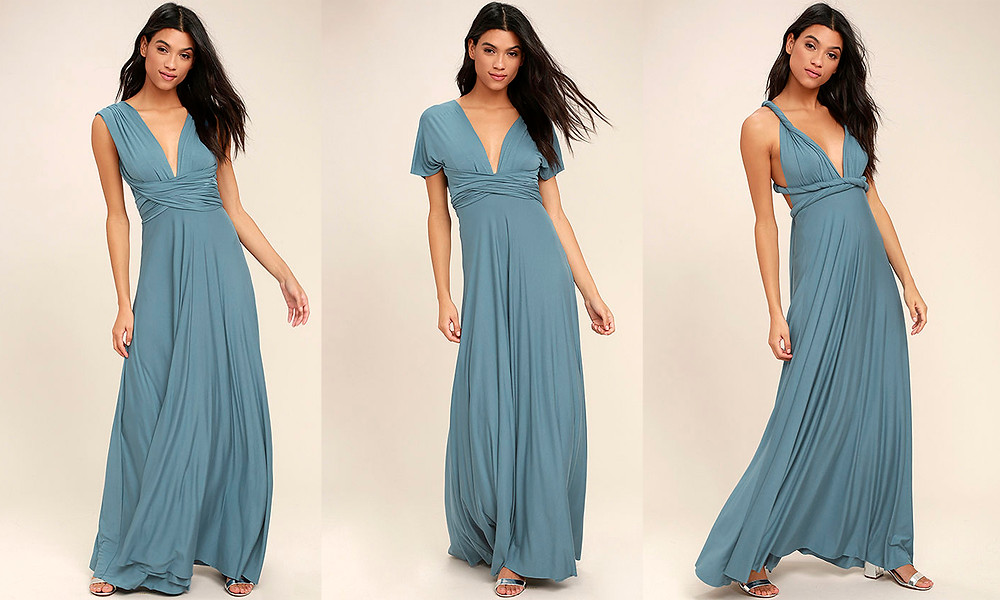 convertible maxi dress wrap slate blue beach dress