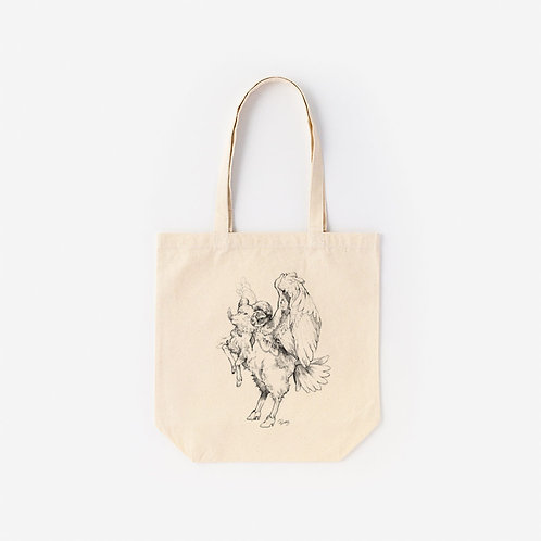 Tote-Bag 架空動物 MIX:Cotswolds Sheep MIX Whooper Swan