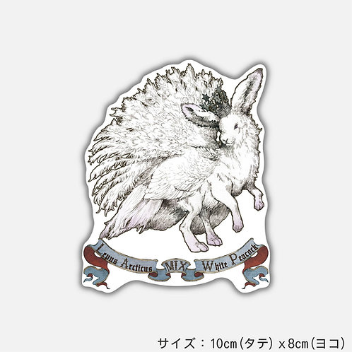 Stickers 架空動物 MIX:Lepus Arcticus MIX White Peacock(2枚)