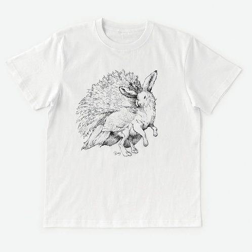 T-Shirt 架空動物 MIX:Lepus Arcticus MIX White Peacock