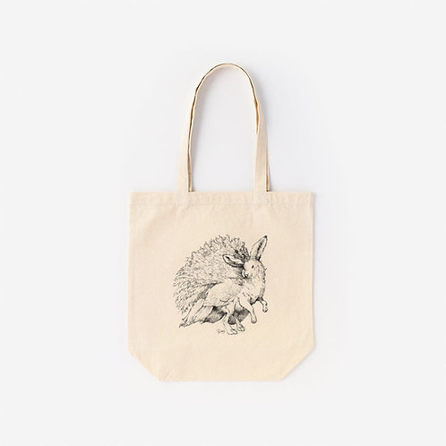 Tote-Bag 架空動物 MIX:Lepus Arcticus MIX White Peacock