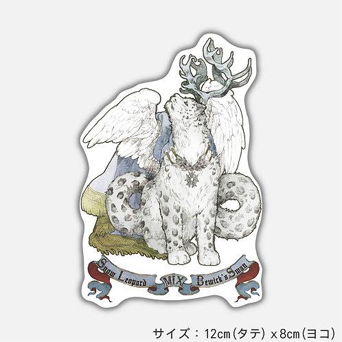 Stickers 架空動物 MIX:Snow Leopard MIX Bewick's Swan(2枚)