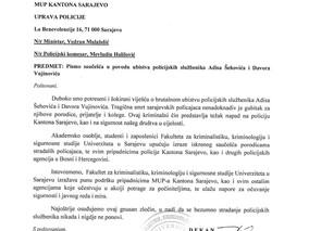 Pismo saučešća povodom ubistva policijskih službenika Adisa Šehovića i Davora Vujinovića