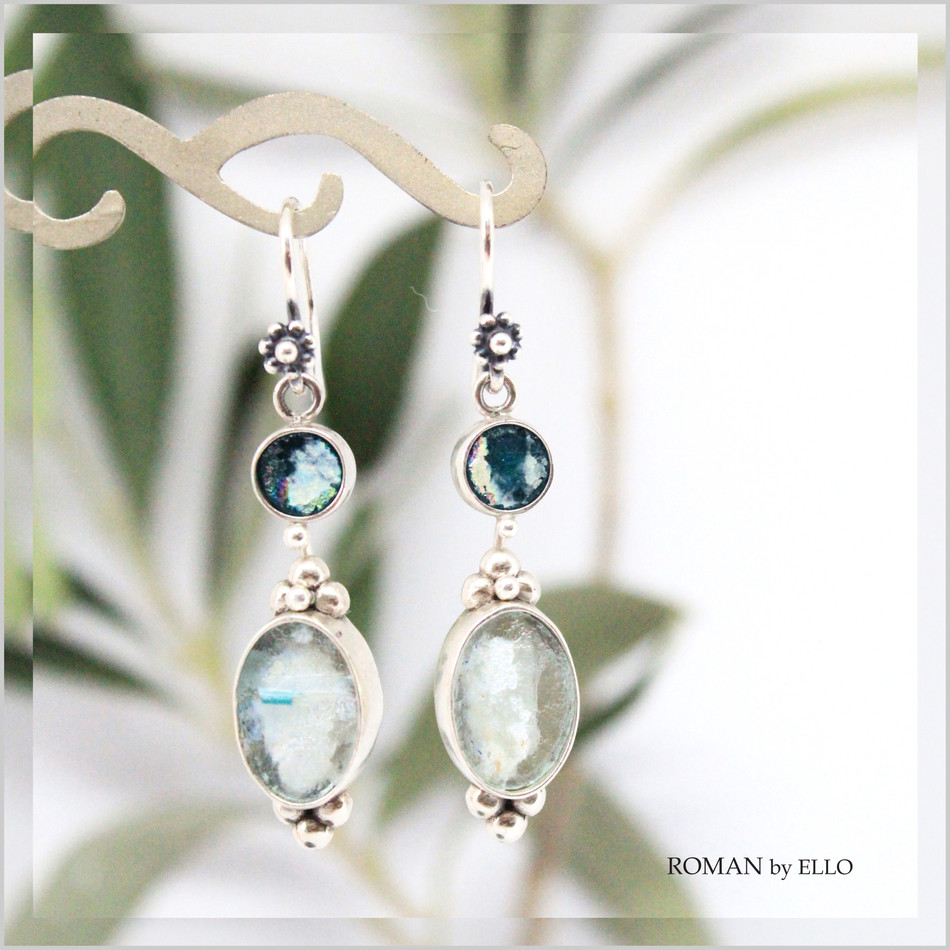 OLIVE DOUBLE DROP EARRINGS WITH ROMAN GLASS