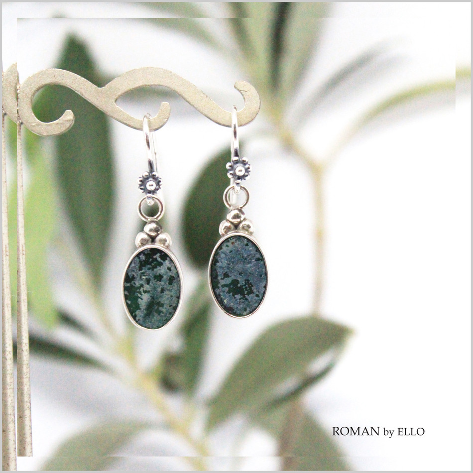 OLIVE DROP EARRINGS WITH ROMAN GLASS