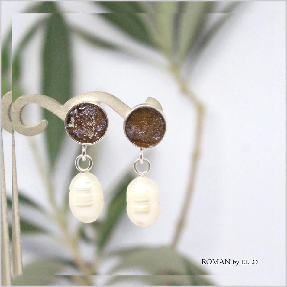 PEROLA EARRINGS WITH ROMAN GLASS
