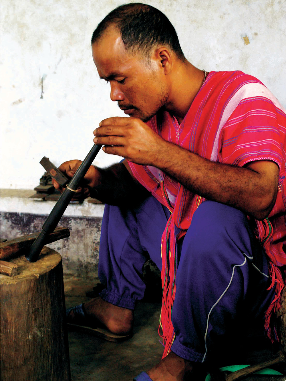 Karen producer crafting a silver ring.