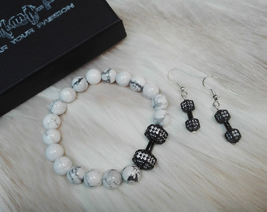 Set Bratara + Cercei Black & White Zirconia - SE005