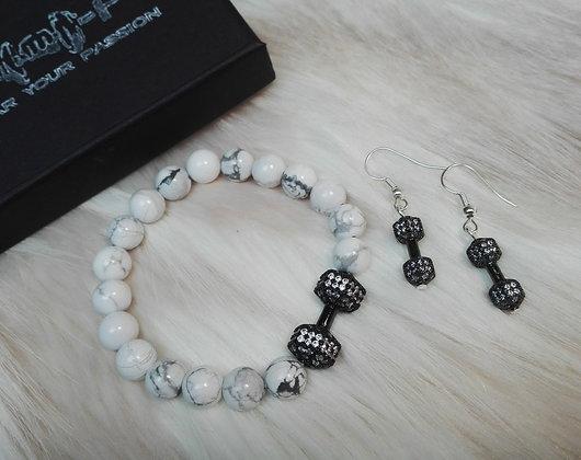 Set Bratara + Cercei Black & White Zirconia - SE005