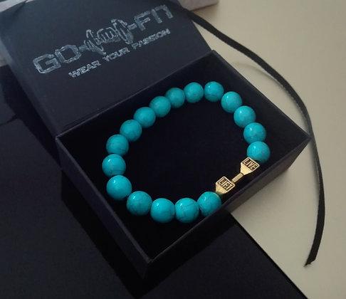 Bratara Fitness Live & Lift Blue Gold femei - BR036