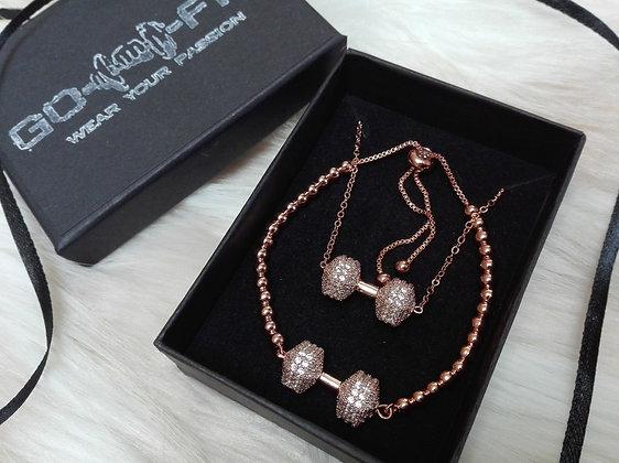 Bratara + Lant Rose Gold & Gantera Roz Gold Zirconia - SE004