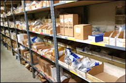 appliance parts on shelves