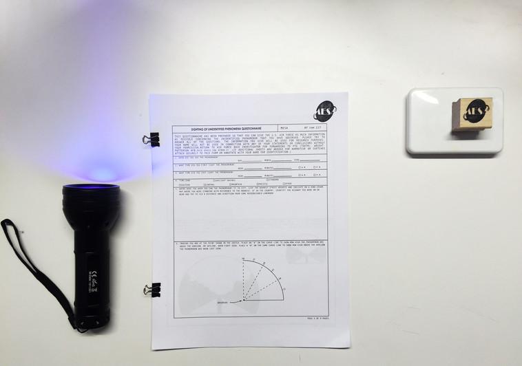UV Flashlight, Documents, MESA stamp