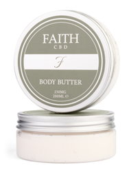Faith CBD skincare wellness products. Anxiety and pain relief, stress reduction. Body butter.