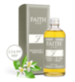 Faith CBD skincare wellness products. Anxiety and pain relief, stress reduction. Massage oil with Neroli.