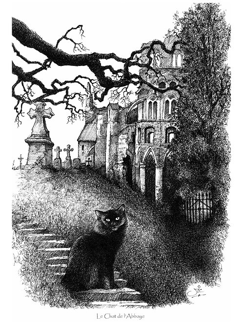 'LE CHAT DE L'ABEYE' OPEN EDITION PRINT