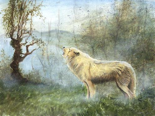 Morning Song - Original Wolf Acrylic Painting