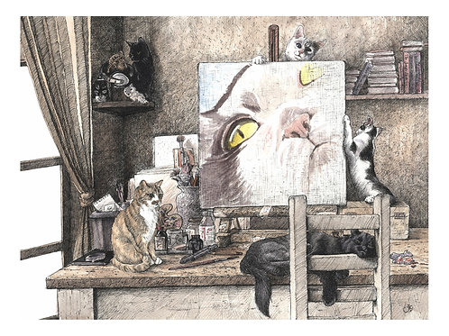 'STUDIO MISCHIEF' OPEN EDITION CAT PRINT