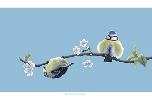 'Blossoming Friendship' Open Edition Blue Tit Print