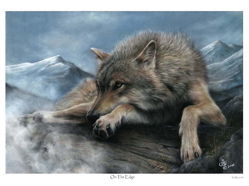 'ON THE EDGE' LIMITED EDITION WOLF PRINT